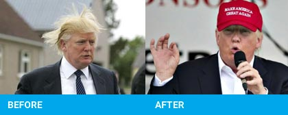 photos of Donald Trump with and without the hat