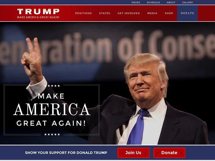 Screenshot of Donald Trump's website with the message Make America Great Again