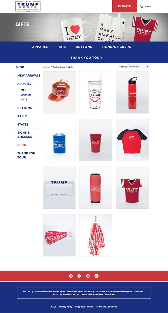 Screenshot of website showing Donald Trump promotional items for sale