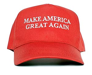 The iconic red Make America Great Again hat
