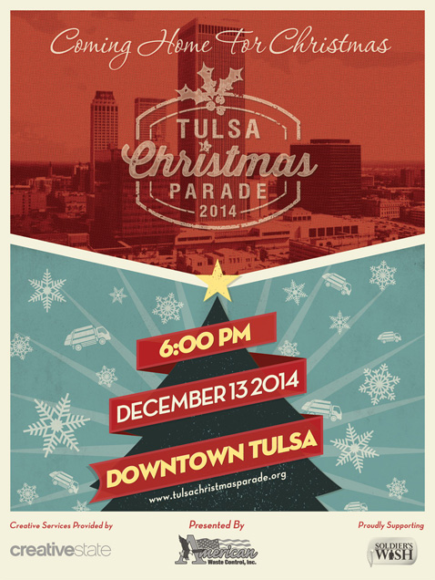 Official Tulsa Christmas Parade Poster Designed by Creative State