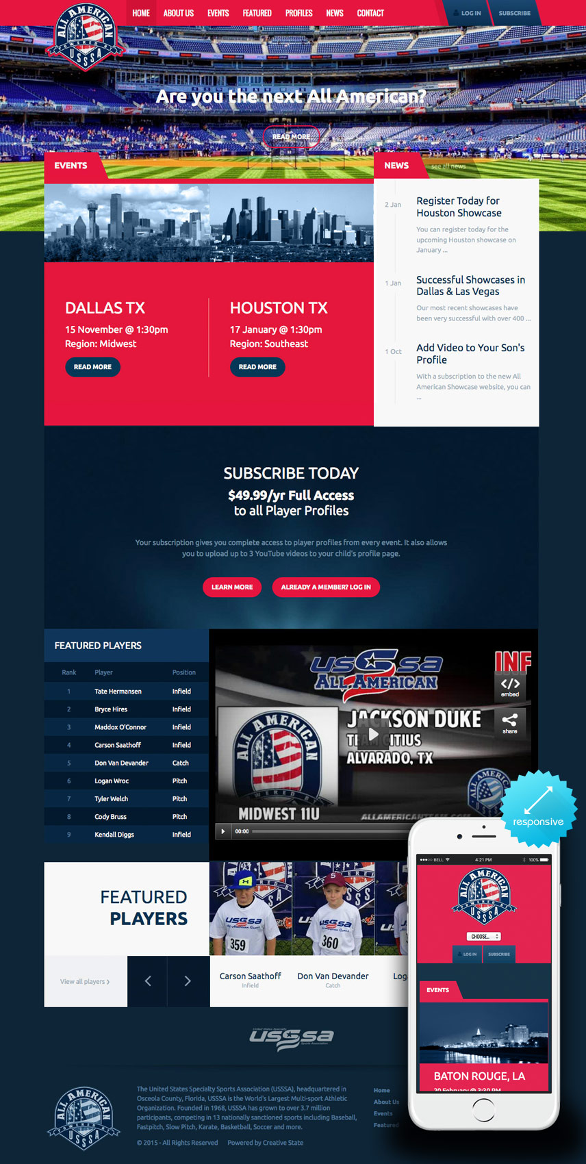 Homepage & Mobile Screenshot of All American Athletics