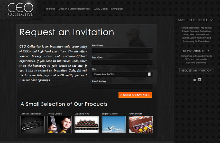 Inner Page Form Screenshot of CEO Collective
