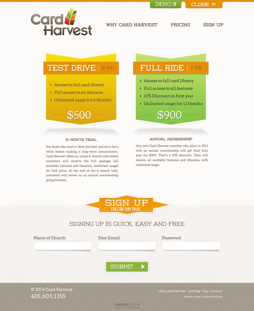 Pricing Page Screenshot of Card Harvest