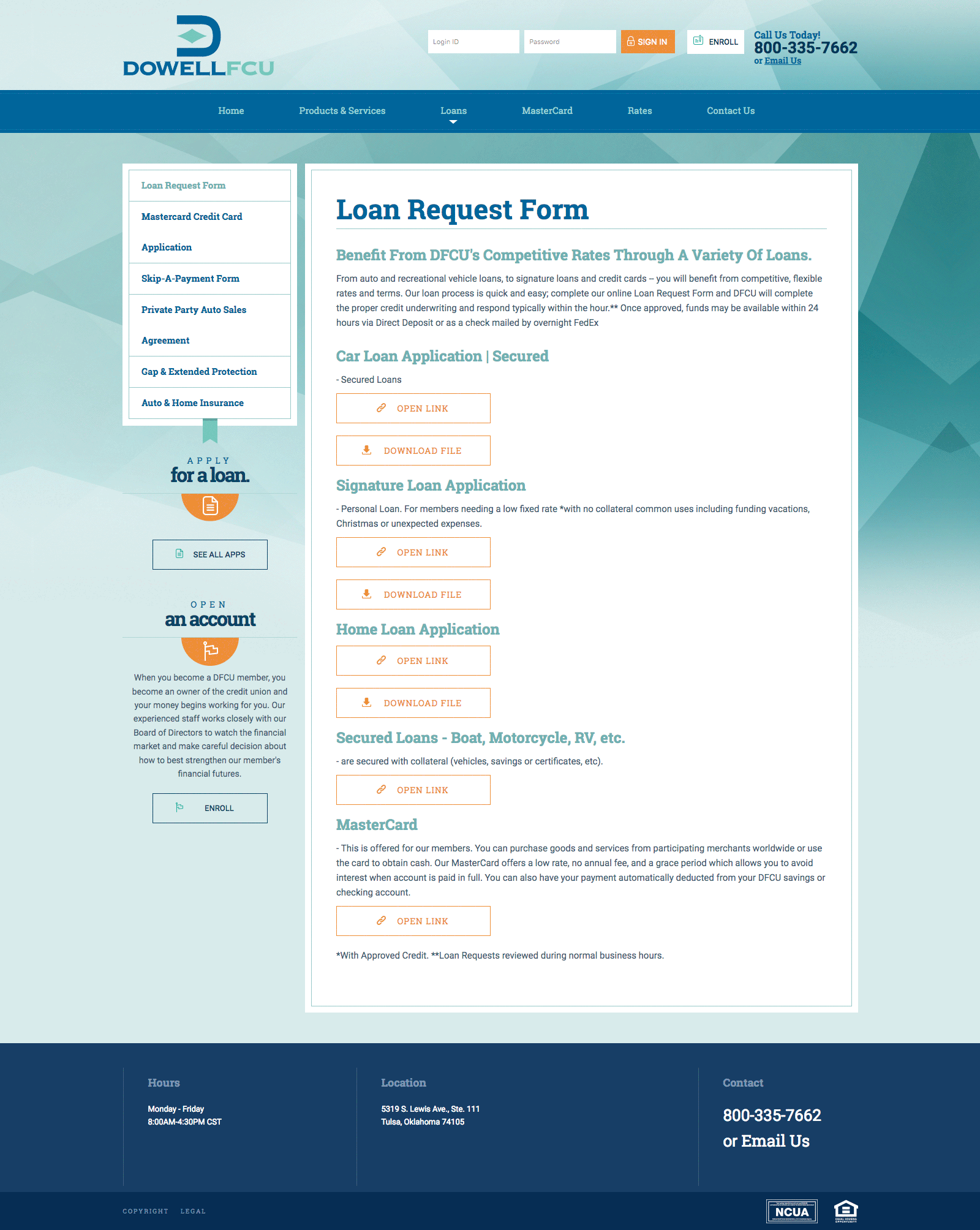 Dowell FCU Loan Request Form Page