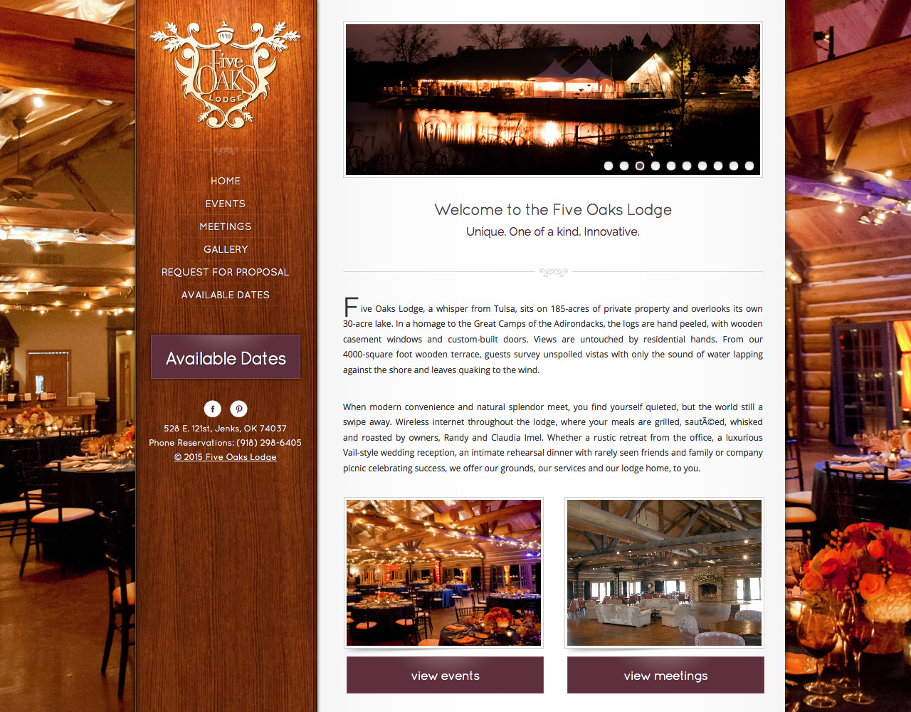 Homepage Screenshot of Five Oaks Lodge
