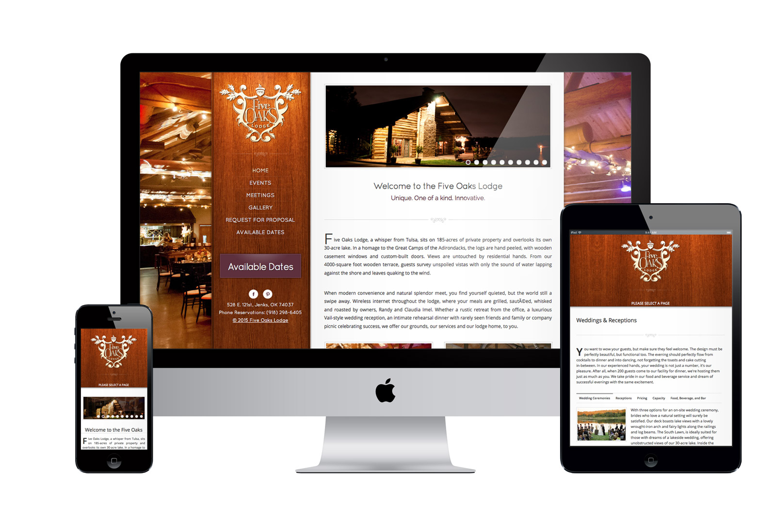 Responsive Website for Five Oaks Lodge