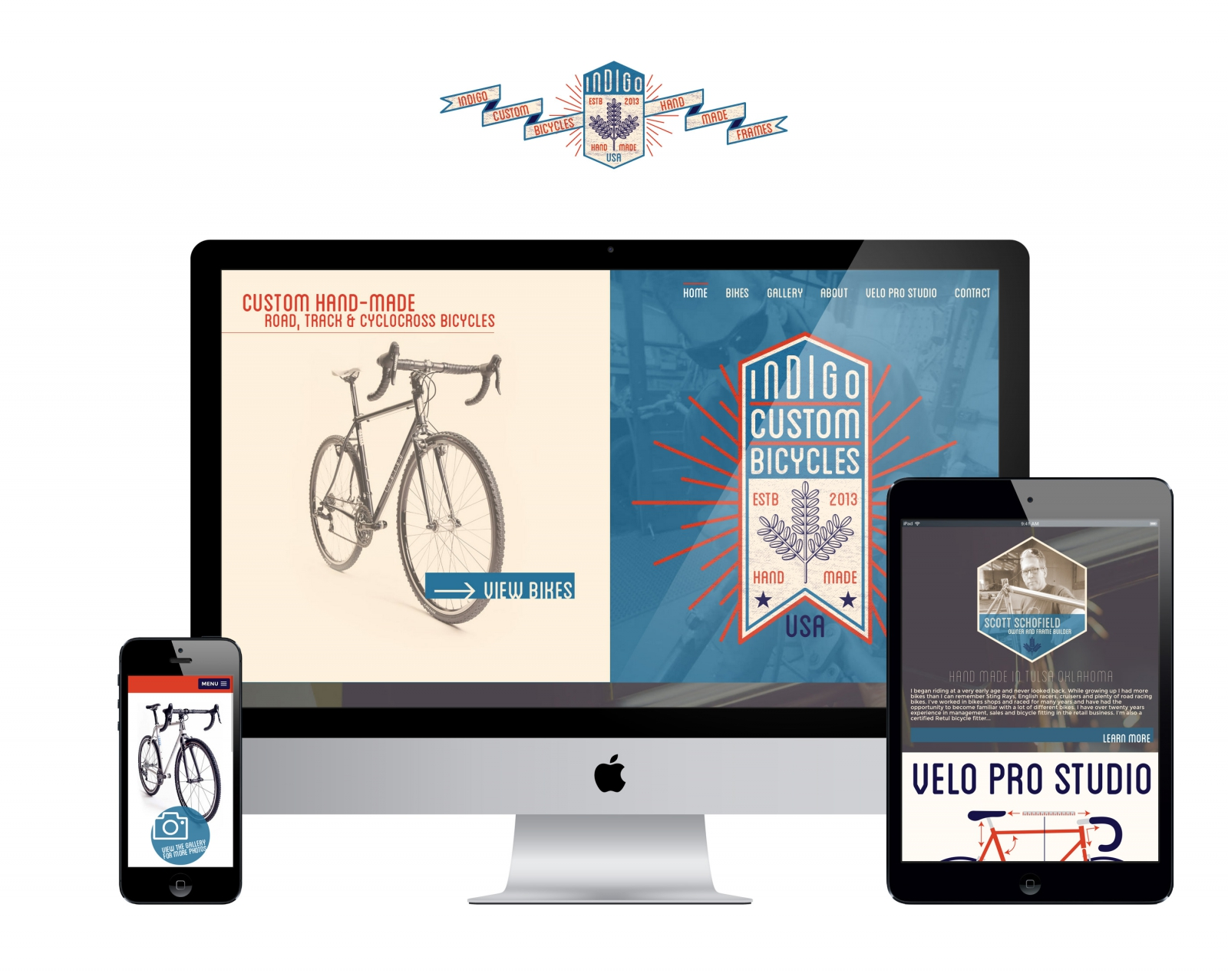 Responsive Website for Indigo Custom Bicycles
