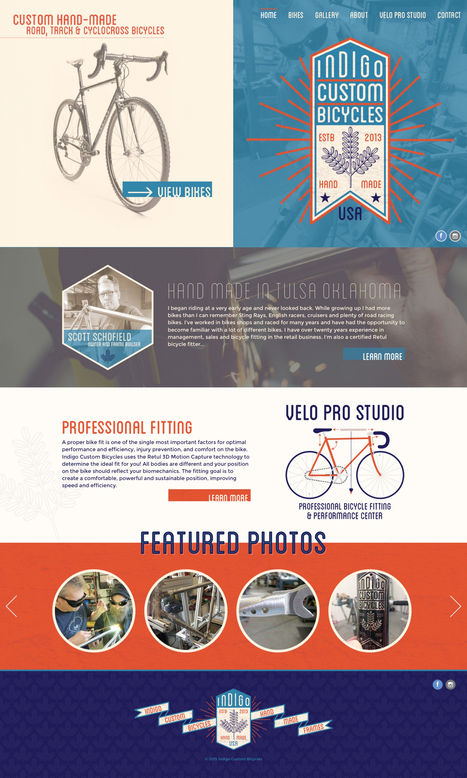 Homepage Screenshot of Indigo Custom Bicycles
