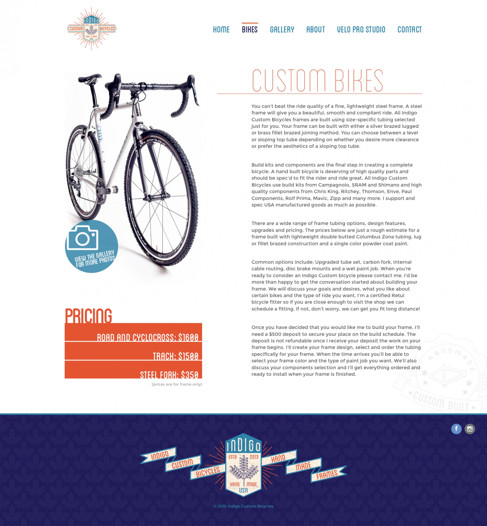 Inner Page Screenshot of Indigo Custom Bicycles