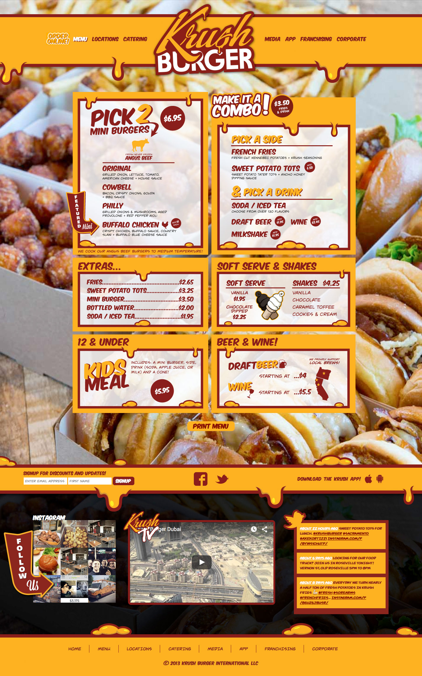 Menu Page Screenshot of Krush Burger