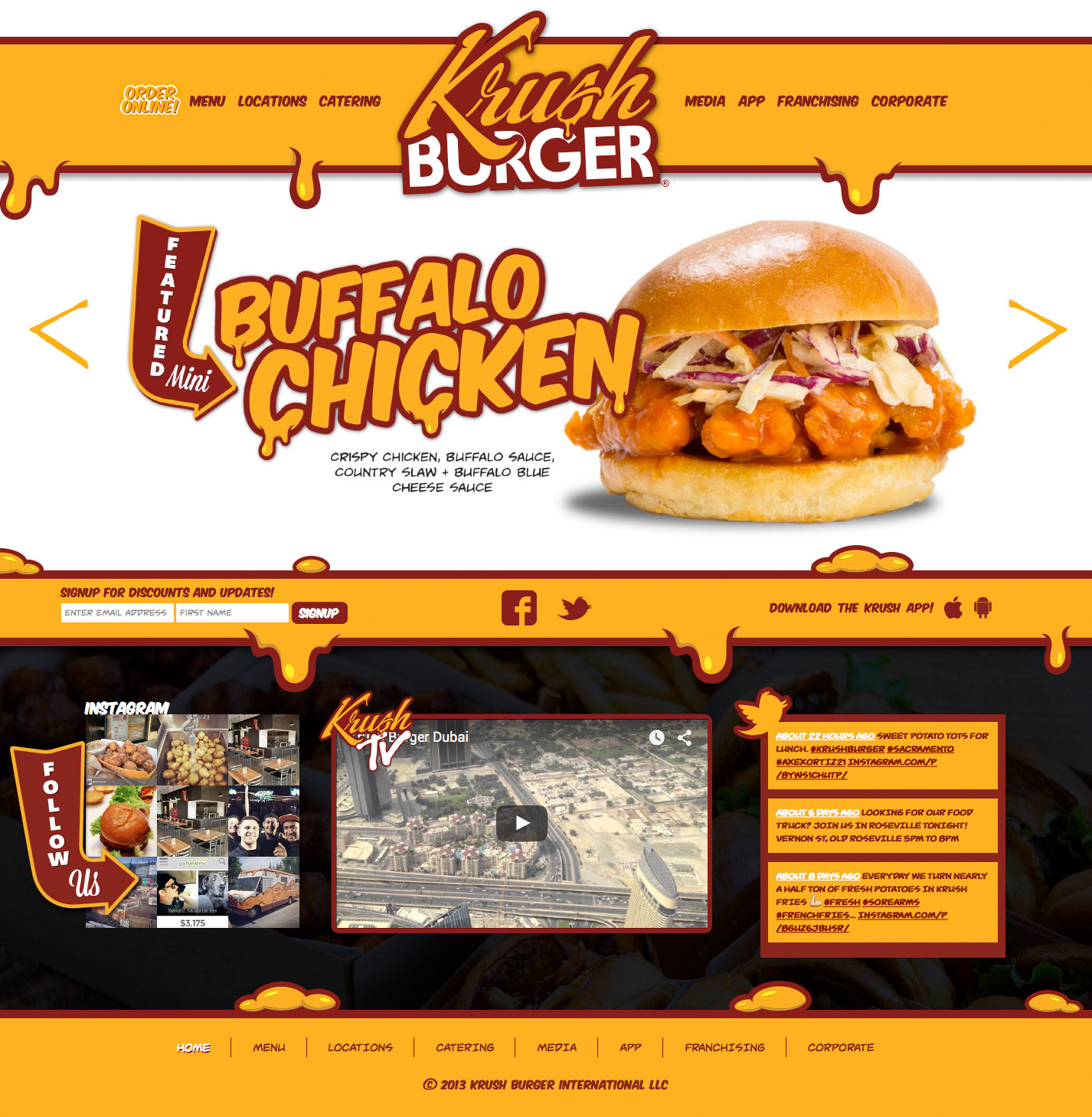 Homepage Screenshot of Krush Burger