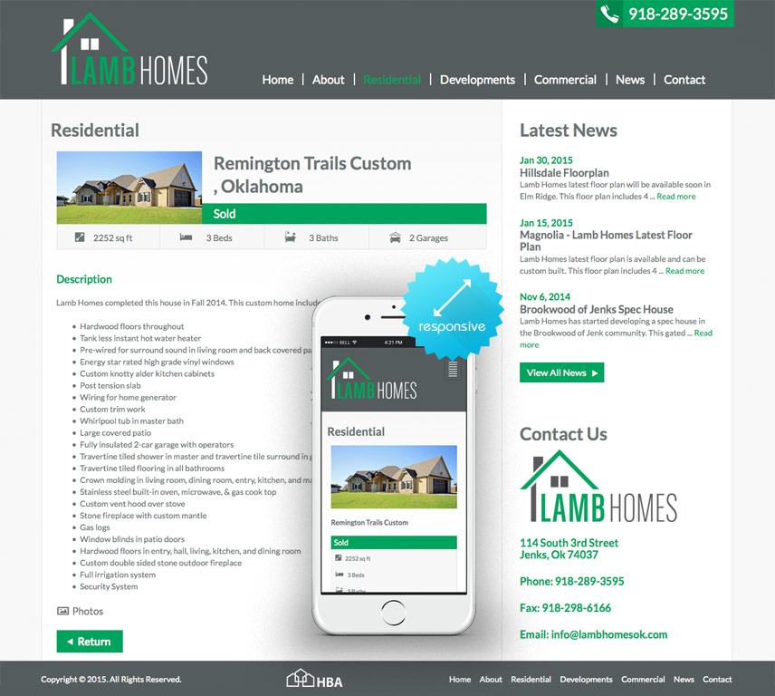 Inner Page and Mobile Screenshot of Lamb Homes