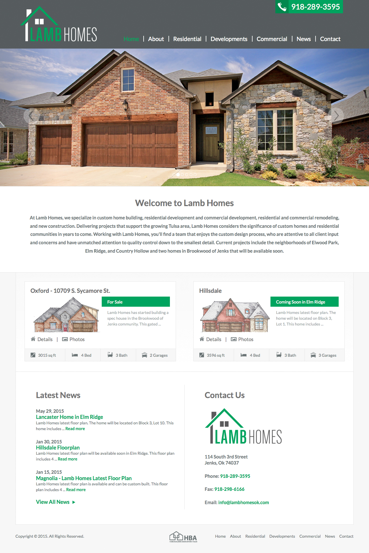 Homepage Screenshot of Lamb Homes