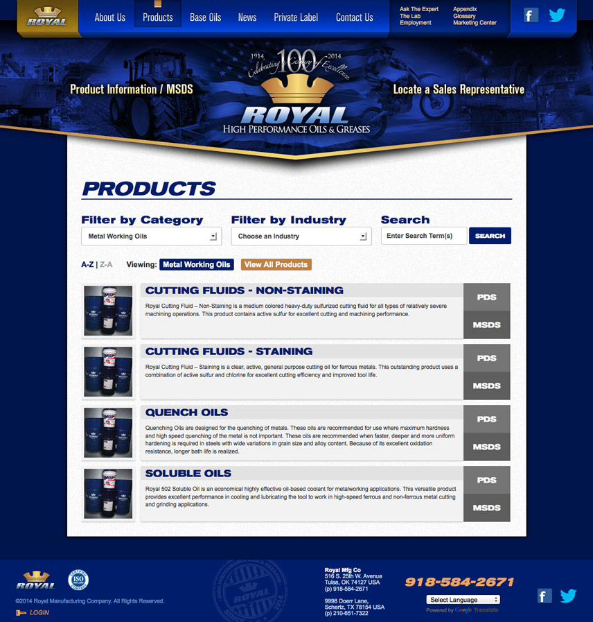 Product List Page Screenshot of Royal Manufacturing