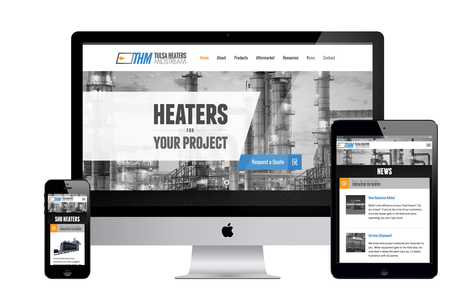 Responsive Website for Tulsa Heaters Midstream