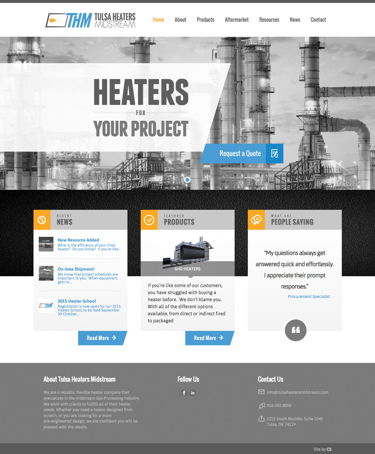 Homepage Screenshot of Tulsa Heaters Midstream