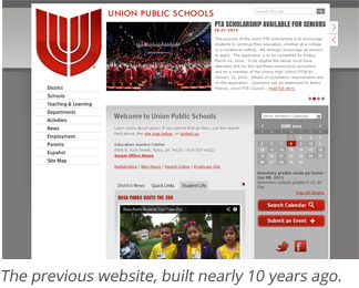 screenshot of previous union website created nearly 10 years ago.